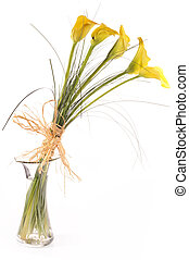 calla lilies in vase - Bouquet from five yellow calla lilies...