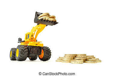 Making money - Toy construction truck creating a heap of...