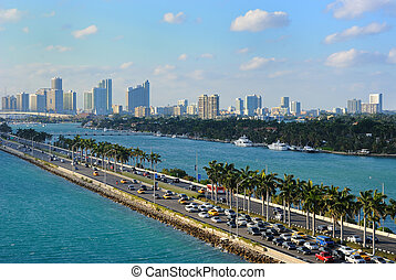 Miami Skyline - Skyline of the city of Miami, Florida near...