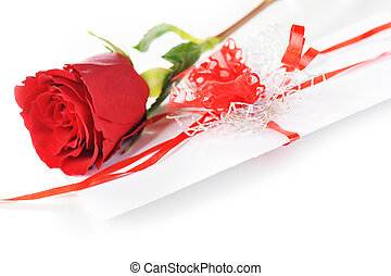 rose and letter - beautiful red rose and letter with ribbon...