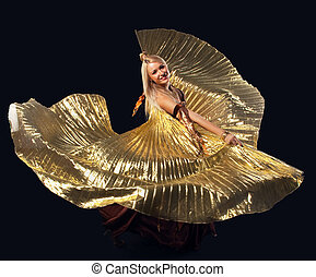 Beauty blond woman dance with flying gold wing - Beauty...
