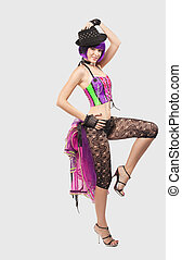 young beauty woman in disco costume