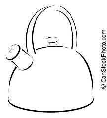Kettle symbol - Simple black sketch of Kettle isolated on...
