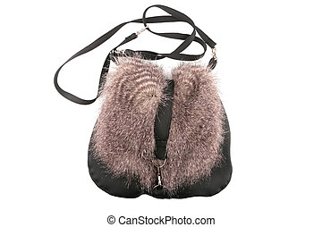 Female purse with fur