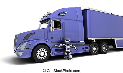 American sem -truck - 3D render of arobot with American...