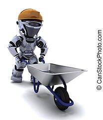 robot Builder with a wheel barrow - 3D render of a robot...