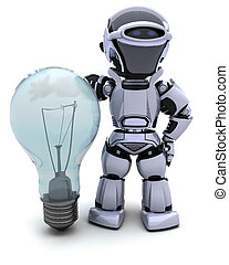 Robot with a light bulb - 3D Render of a Robot with light...