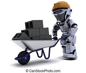 Robot Builder with a wheel barrow carrying bricks - 3D...