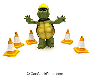 tortoise builder with hazard cones - 3D render of a tortoise...