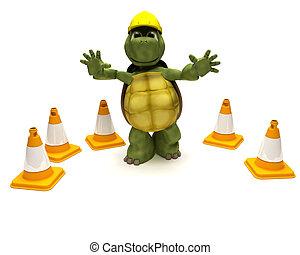 tortoise builder with hazard cones - 3D render of a tortoise...