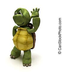 Tortoise Character Listening - 3D Render of a Tortoise...