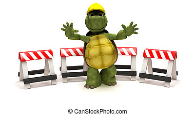 tortoise with a hazard barriers - 3D render of a tortoise...