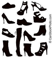 Ladies Footwear - Isolated Ladies Footwear - Black on white...