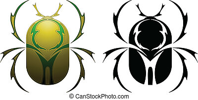 Scarab tattoo design - Tattoo design for a scarab beetle in...