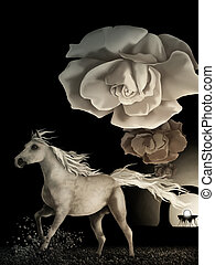 white horse - surreal digital painting of a white horse...