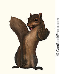 Rude Squirrel - digital painting of a rude squirrel flipping...