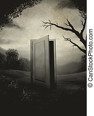 Portrait Of A Door - surreal digital painting of an open...