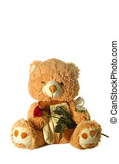 toy bear holding red rose and wedding ring