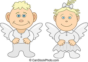 Boy and girl angels - Angels, childrens, little boy and...