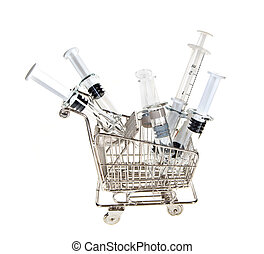 Shopping cart with syringes - Little shopping cart filled...