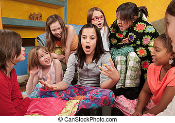 Excited Girl with Friends - Excited girl talking with her...
