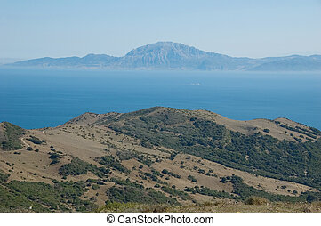 Strait of Gibraltar - Beautiful view on strait of Gibraltar,...
