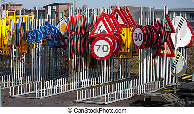 traffic signs - lots of traffic signs stored together