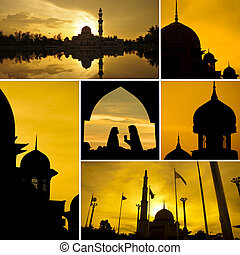 Mosques - Collage photo of mosques silhouette during sunset