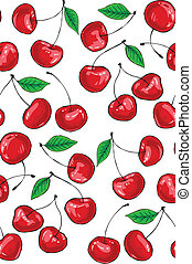 cherry pattern - seamless background pattern with fresh...