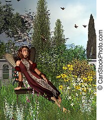 Garden Butterfly Fairy - 1 - Fairy with butterfly wings...
