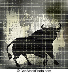Grunge Bull - A vector background of a bull behind a fence