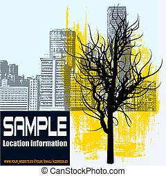 Winter City - A vector flyer, with a leafless tree over an...
