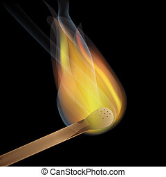 Burning match - match stick burning with flame and smoke on...