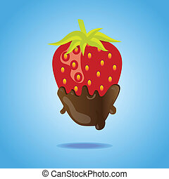 Strawberry dipped in chocolate floating on blue background...