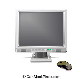 Monitor and mouse. - Grey monitor and mouse are shown in the...