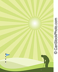 Golfer silhouette in countryside