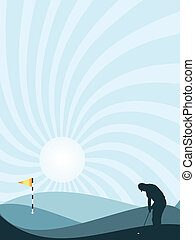 Blue golfer silhouette - Blue silhouette of golfer playing...