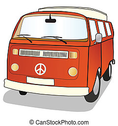 Campervan in simple illustrated style with ban the bomb CND...