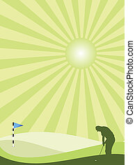 Golfer silhouette in countryside - Golfer silhouette in...
