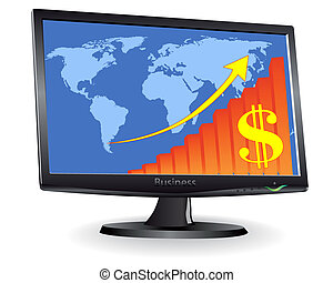 Monitor showing a world map and schedule of the arrow and dollar signs on a white background