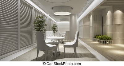 3d interior design blank lounge with white furniture