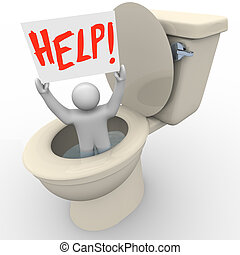 Man Stuck in Toilet Holding Help Sign - Emergency SOS