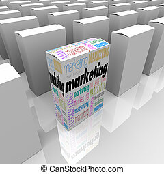 Marketing - Many Products One Different - Many boxes on a...