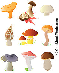 glossy forest mushrooms - set of vector glossy forest...