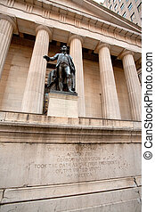 Federal Hall with Statue of George Washington in New York,...