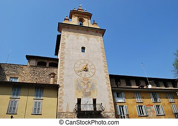Tower bell, Bergamo - Historic tower bell, old town,...