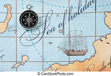 compass on map - compass on a stylized map