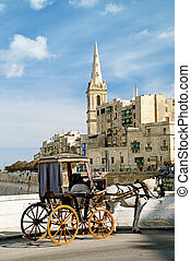 horsedrawn cart in valetta malta - old horsedrawn cart in...