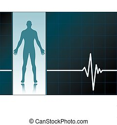 Medical background with ekg heartbeat pattern