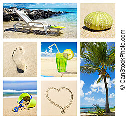 Summer beach holiday scenes - Collage of different summer...